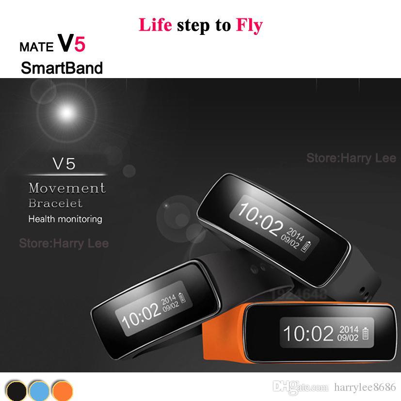 2016 NEW MATE V5 Smart bracelet Waterproof step gauge sleep intelligent monitoring health bracelets For Andriod IOS smartphone