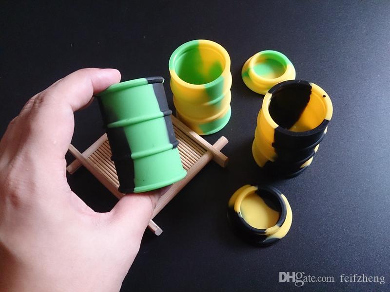 barattolo di silicone barile contenitore vasetti dab cera vaporizzatore olio di gomma tamburo forma contenitore 26 ml grande grado di cibo silicio asciutto erba dabber box strumento