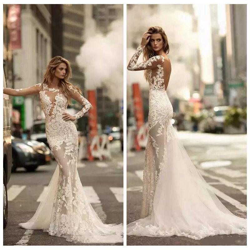 2018 New Modern Mermaid Wedding Dresses Slim Custom Illusion Full