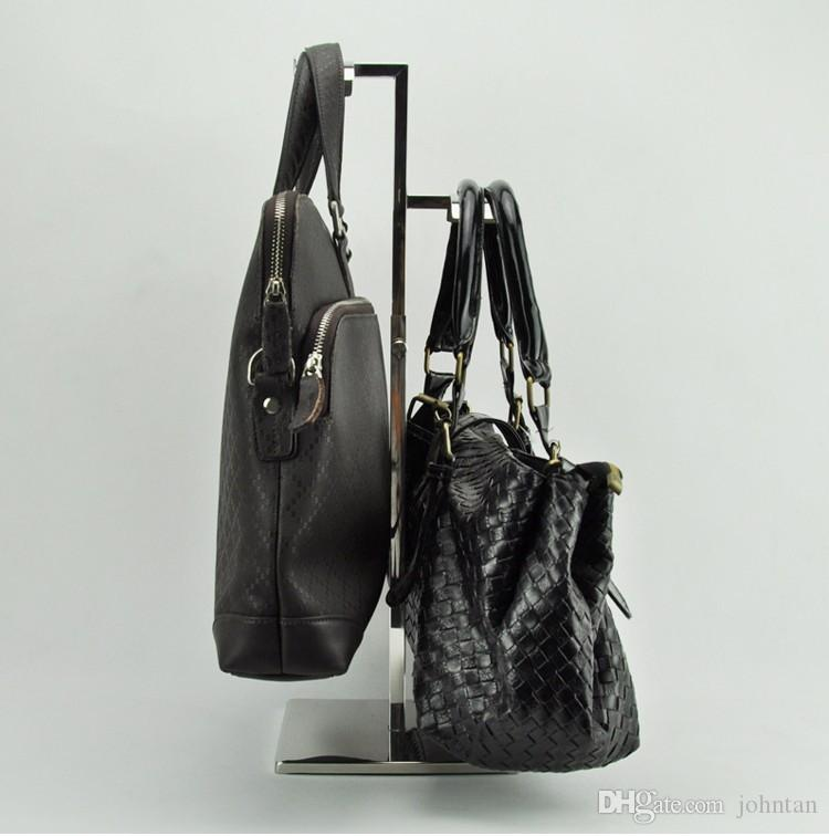 high quality mirror Stainless steel adjustable handbag display holder Women bags /wig /silk scarf /handbag display stand racks