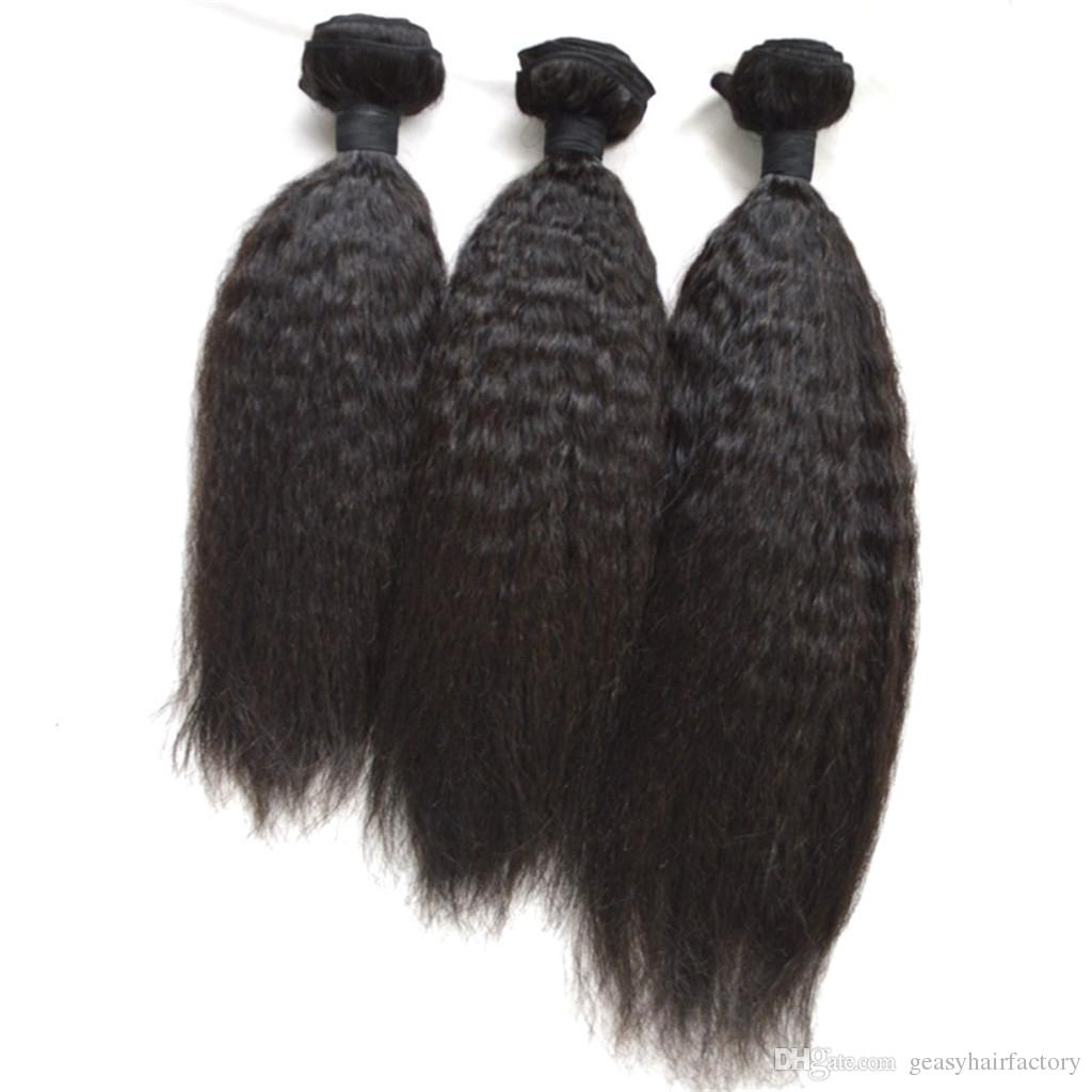 Cheap Brazilian hair Kinky Straight Human hair extensions 100g/3.5oz/bundles natural black weaves 8-30inch LaurieJ Hair