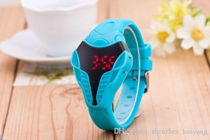 2015 New men male sport led watch Triangle Dial snake head Cobra women Men's Wristwatch Silicone Rubber Creative digital Watches
