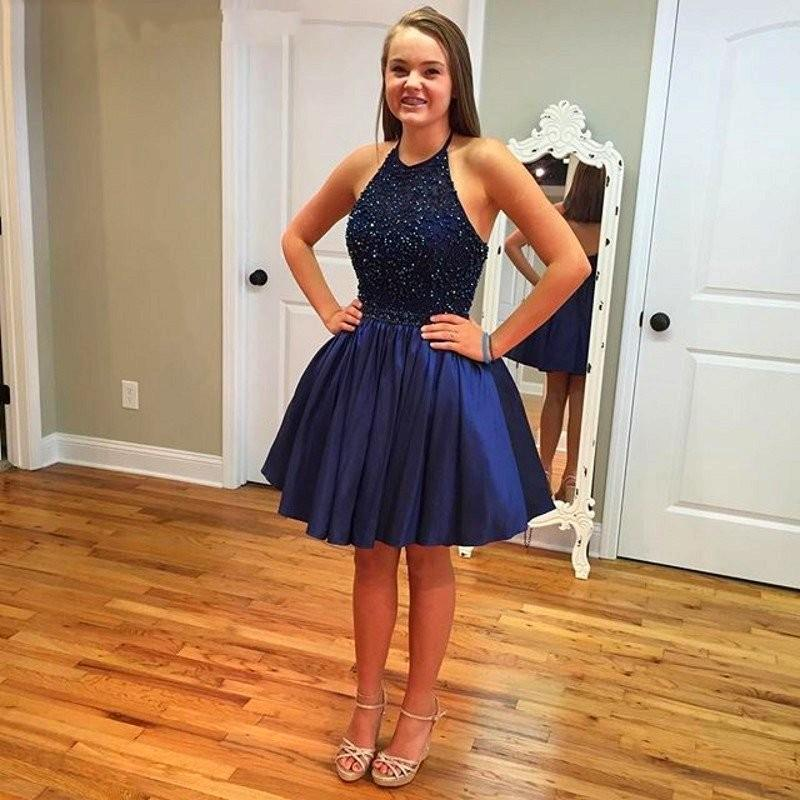 Fashion Navy Blue A Line Short Homecoming Dresses 2016 Hot Sale Party Prom  Dress Halter Full Beaded Stunning 8th Grade Graduation Dress Prom Dress  Patterns ...