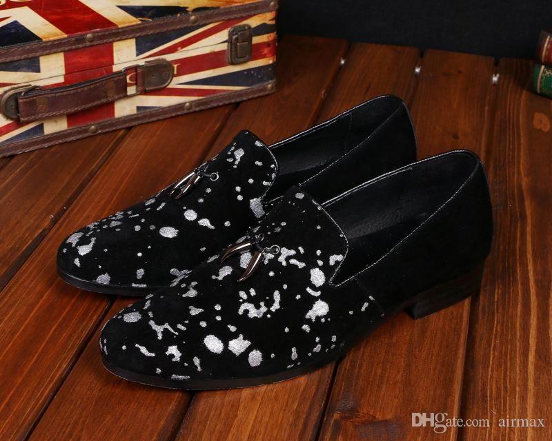 Personalidad Mens Black Leisure Loafer Shoes Moda Graffity Slip On Zapatos planos para hombres Zapatos de barco Tamaño 38-46