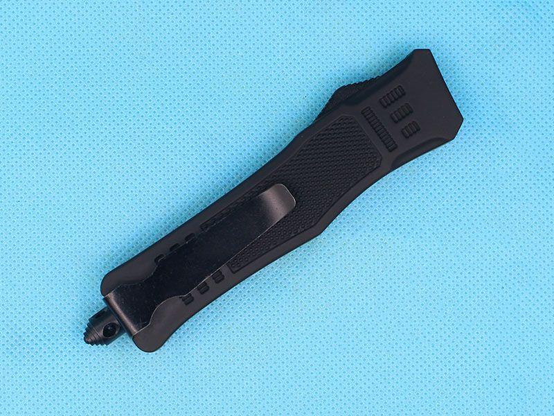 Custom Knives - 7 Inch Black Small 616 Auto Tactical Knife 440C Double Edge Half Serration Blade With Nylon Bag