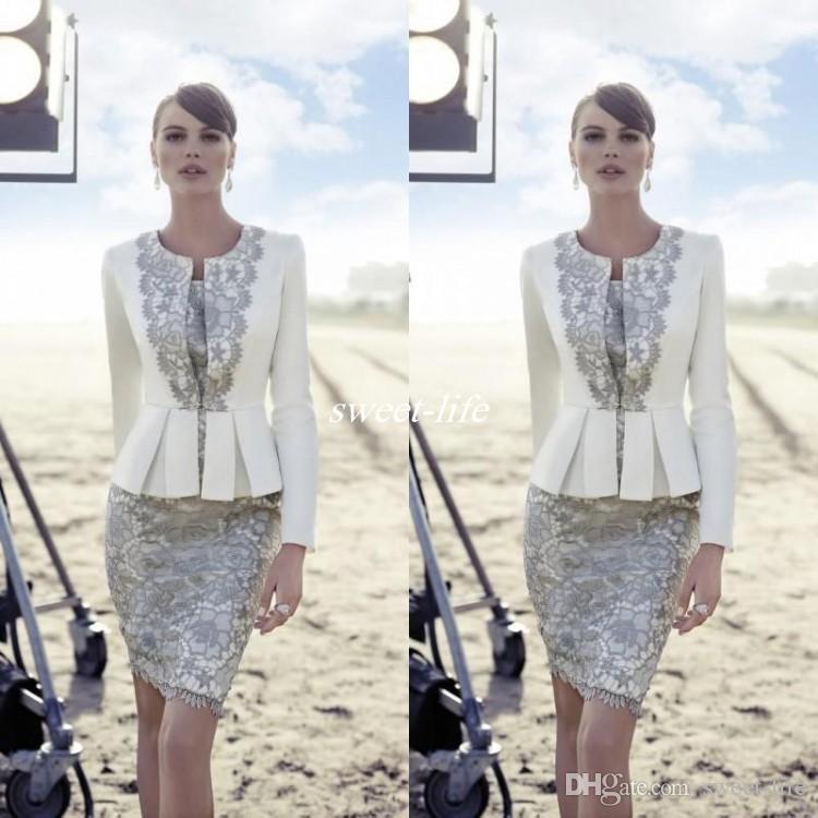 Carla Ruiz 2016 Plus Size Mother Of The Bride Suits Long Jacket Vintage Lace Peplum Knee Length Satin Wedding Mother Guest Formal Dreses