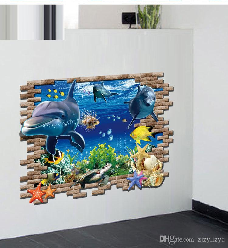 Pvc Cartoon Sea Animals 3d Wall Stickers Kids Home Decoration Wall Decals  For Kids Rooms Poster Wallpaper Kids School Stickers Large Size Artistic  Wall ...