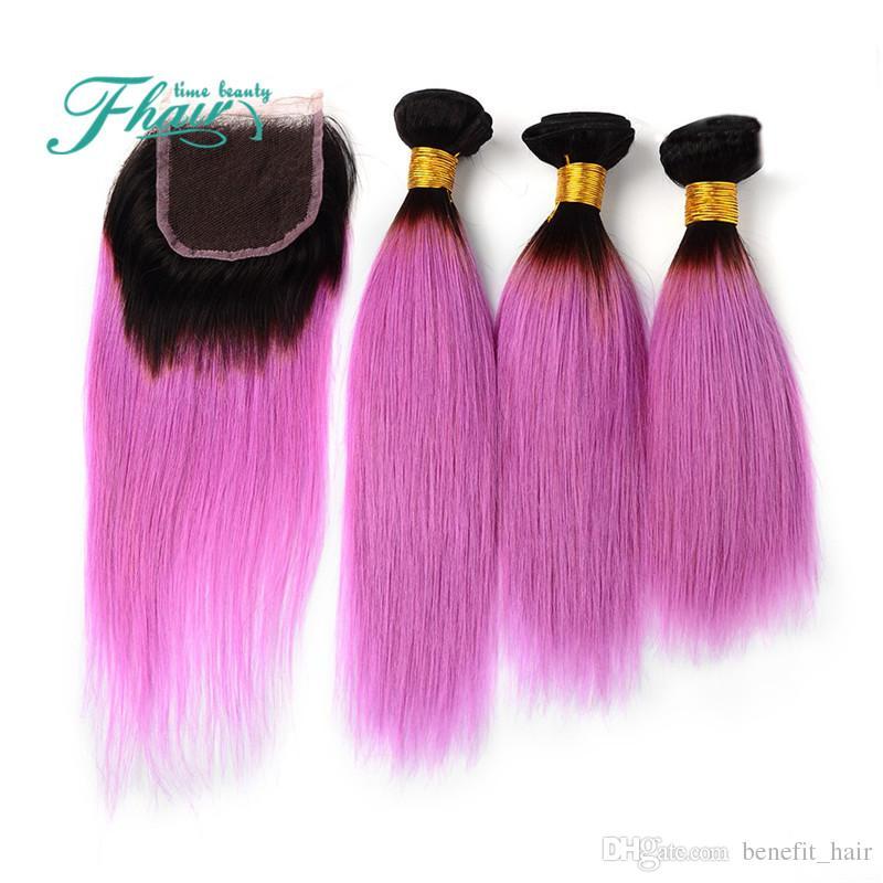 Two Tone 1B Pink Wefts Bundles With Closures 옹 브르 스트레이트 페루 인간의 머리카락 위브 클로저 3 개 저렴한 옹 브 확장
