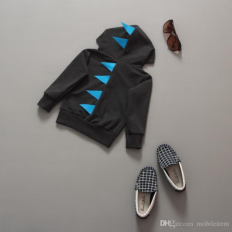 Kapüşonlu Kazak Moda Çocuklar Ceketler Tops Sonbahar Erkek Coat Dinozor Şekli Erkek Bebek Dış Giyim Giyim 536