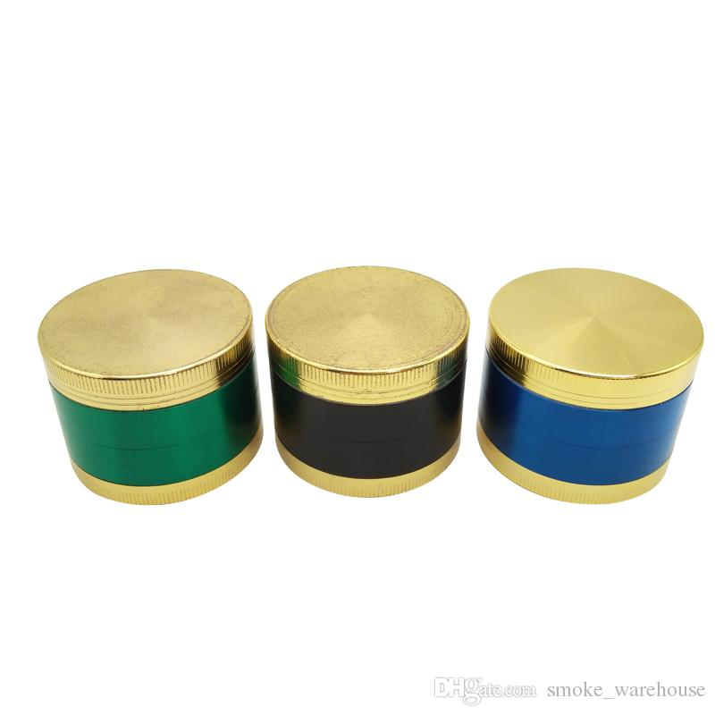 Gold Lid Fashio 50mm 4 layer metal grinder with Zicn alloy cnc teeth tobacco grinder for smoking water pipes colorful grinders Fast delivery