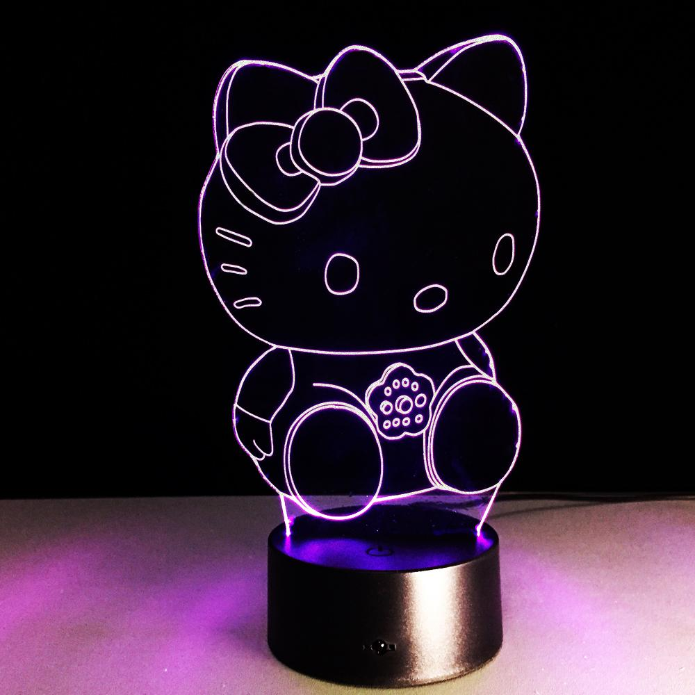 2017 3d illusion hello kitty night light red green blue yellow