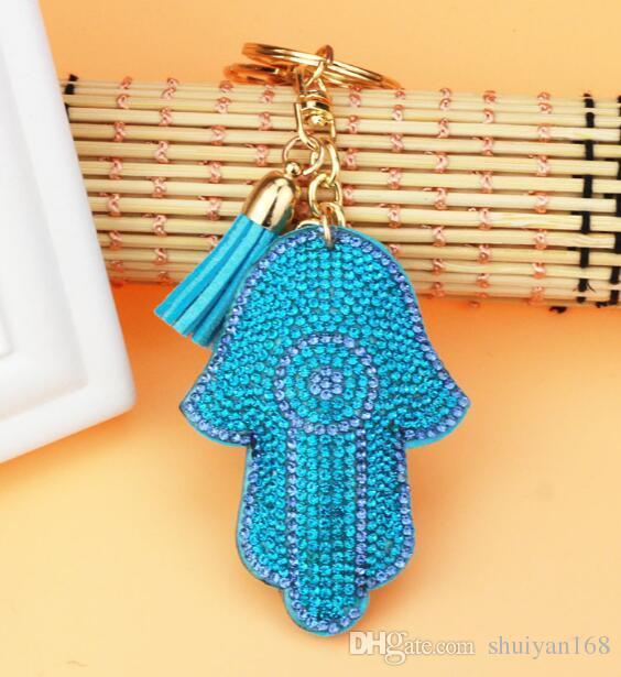 Antique Silver Hamsa Fatima Hand Rhinestone Charms Palm Keychain Fashion For Car Key Ring Accessories Christmas Gift