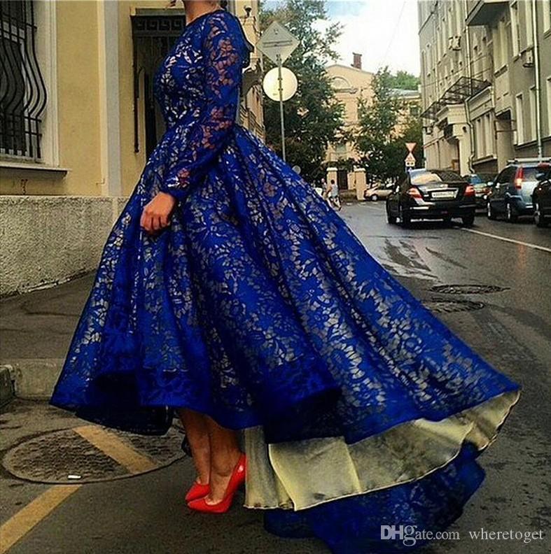Styl arabski Długie rękawy Prom Dresses Royal Blue Lace Dresses 2019 Tanie New Eleganckie Suknie Celebrity Hi Lo Formalne suknie wieczorowe