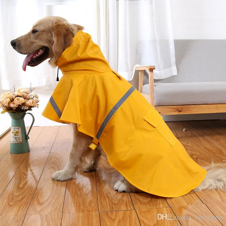 Pets Dog Puppy Cat Rain Coat Dog Clothes Waterproof Jacket Rainwear Clothes Hooded Reflective With 16090901