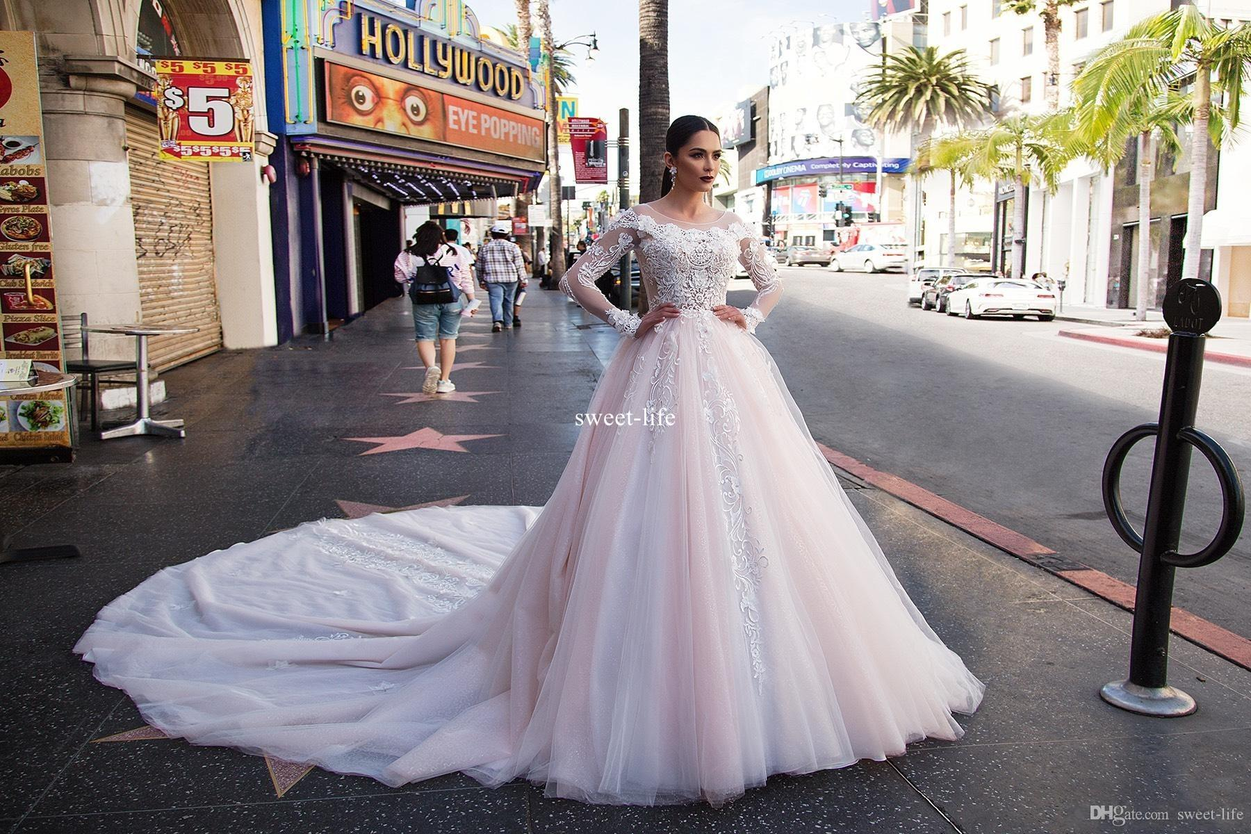 Blush Pink Long Sleeve 2017 Ball Gown Wedding Dresses Scoop Illusion Zipper Empire 3D-Floral Appliques Tulle Tiered Skirts Sweep Train Dress