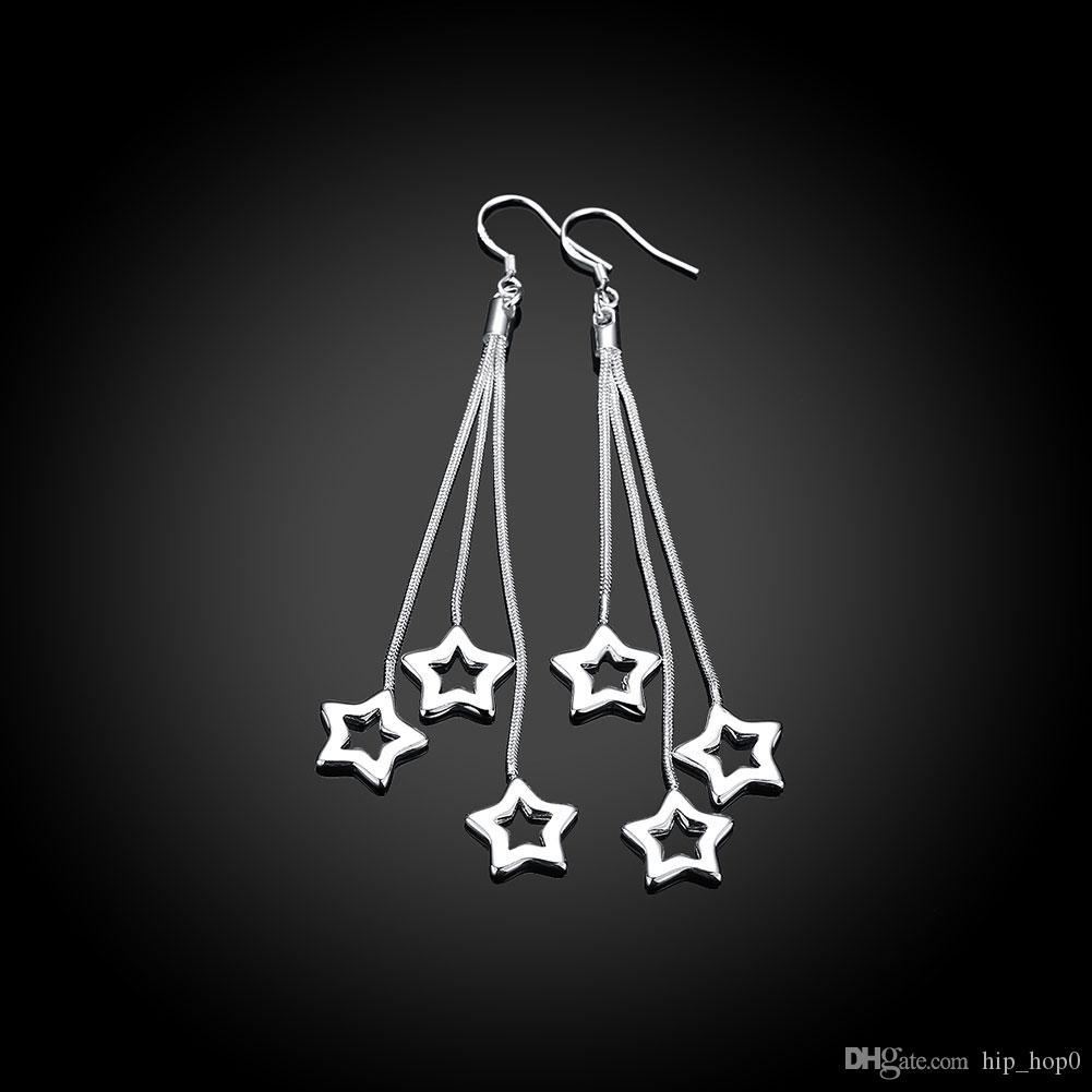 Распродажа! Элегантный Кисточкой Длинные Серьги Звездные Подвески Крюк Серьги Покрытием Серебряные Ювелирные Изделия Звезда Мотаться Серьги Красивый Подарок Оптовая