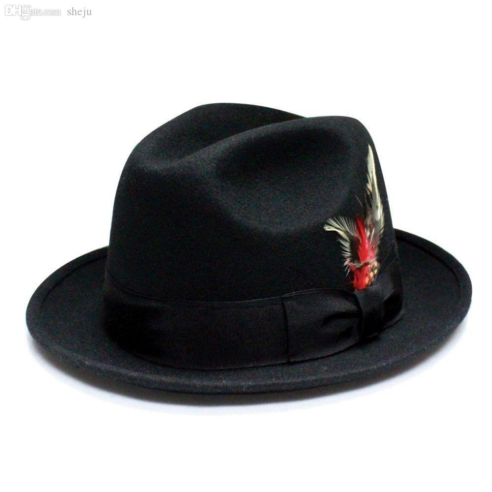 c60d348ed60b1 2019 Wholesale Unisex 100% Wool Felt Hat Round Wide Brim Fedora Trilby Cap  Ribbon Feather Accent Hats From Sheju