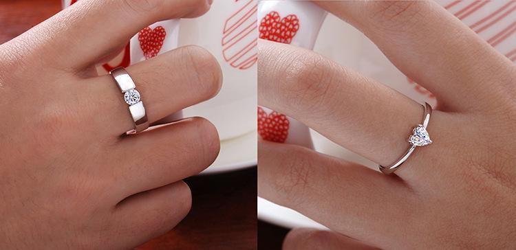 Herz Ringe Hohe Qualität Liebe Charme Fingerschmuck 925 Sterling Silber Weiß Vergoldet 1CT Swiss Diamond Ringe Für Frauen