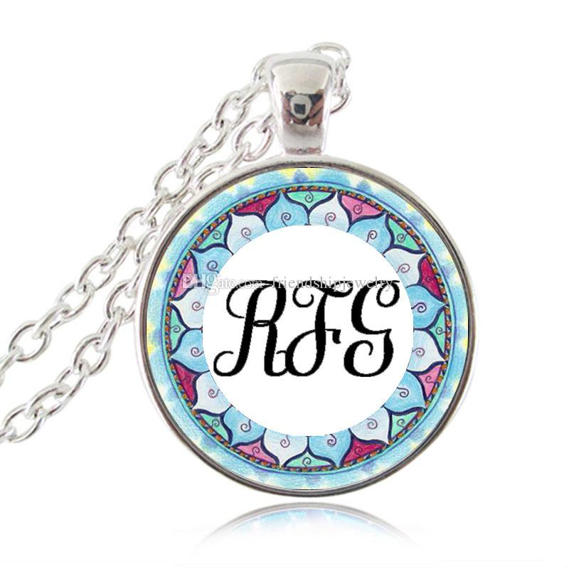 Monogram Necklace Initial Pendant Personalized Name Letters Customized Necklace Glass Cabochon Time Gem Om Lotus Jewelry Gift for Friends
