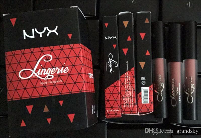 Vendita calda NYX Lingerie Liquid Matte Lipstick Velluto di lusso Matte Lip Gloss Nude DHL Ship