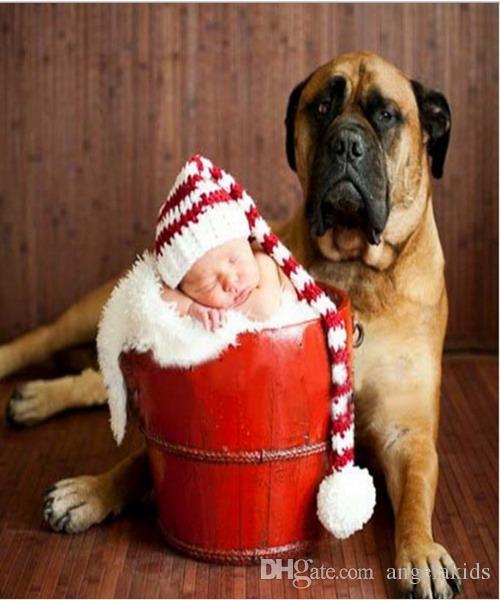 الوليد التصوير الكروشيه قبعة عيد الميلاد اليدوية حك الكروشيه الطفل القدم مجموعة الطفل طويل الذيل مخطط قبعة الوليد التصوير دعامة