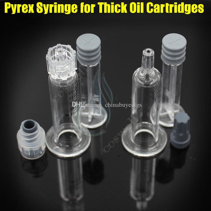 1 ML Luer Lock Pyrex Jeringa Inyector de cabeza de punta de vidrio para cartuchos de aceite de Co2 gruesas Tanque de Color Claro BUD táctil cigarrillos e cigs atomizadores DHL