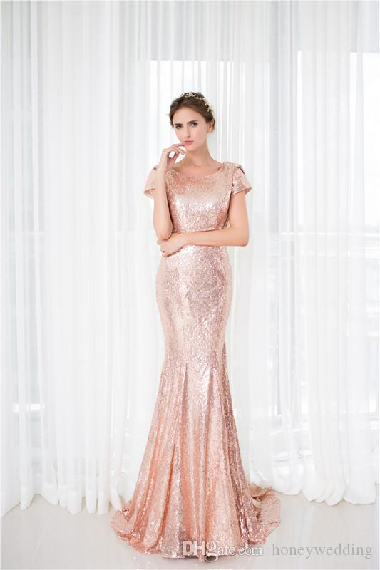 Rose Gold Sequin Mermaid Bridesmaid Dresses Cheap Cap Sleeves Long Wedding Guest Dress In Stock Real Photo Bridesmaids Dress Under 50