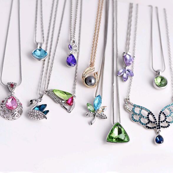 10 pçs / lote Estilo de mistura de cristal pingente colar gargantilha para DIY artesanato moda jóias presente ne23