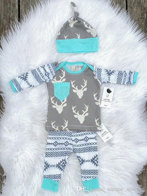 Мальчики девочки рождественские наряды 2016 осень и зима детские наряды олень печатных Детская одежда наборы повседневная с длинным рукавом + PP брюки + шляпа