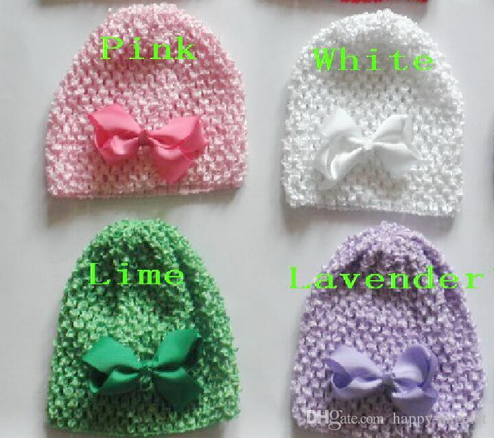 "baby Newborn waffle crochet hats hair bows clips sunny soft toddler beanie with 3"" bows stretch caps feshion hot sell MZ9114"