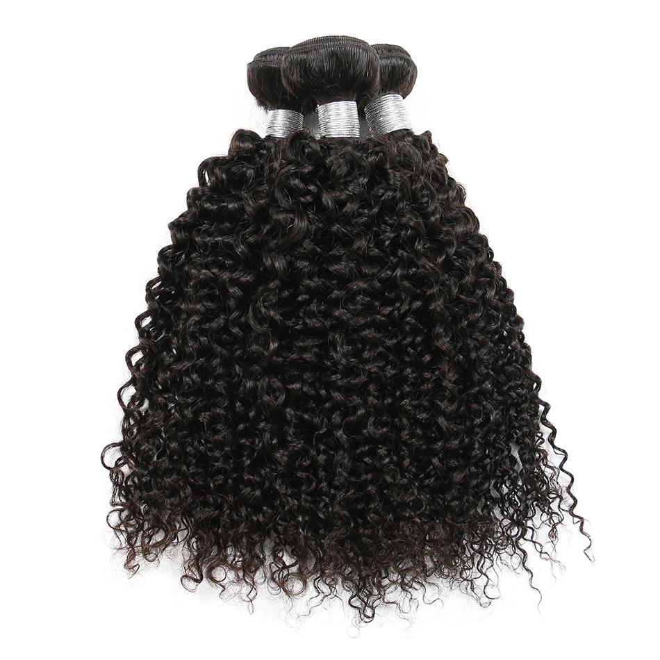 Brasileño Pelo virginal Onda rizada rizada Paquetes de cabello lacio 100% El cabello humano teje Color natural 8-26 pulgadas Puede comprar 3/4 paquetes