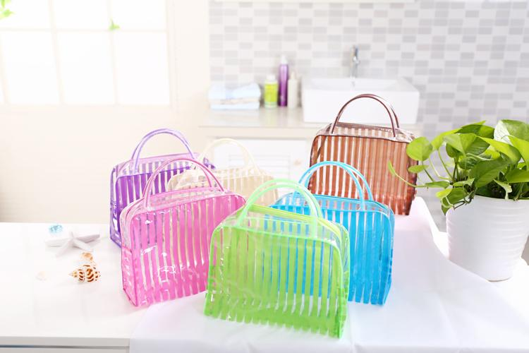 cheap price colorful stripe travel makeup cosmetic PVC wash bag 5 colors free shipping ELB037