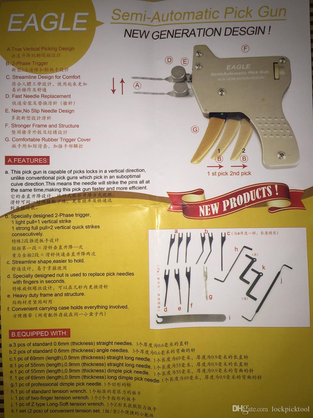 Yeni Tip Yarı-Otomatik Mekanik Kilit Seçim Gun Pick Guns Kilit Toplama Araçları Profesyonel Çilingir Araçları Kilit Seçim Setleri Silah