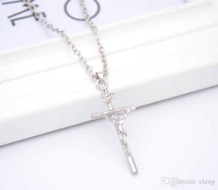 Nuevo collar cruzado mujeres / hombres joyas al por mayor de moda platino oro verdadero plateado cruz cristo crucifijo de Jesús cruz cc646