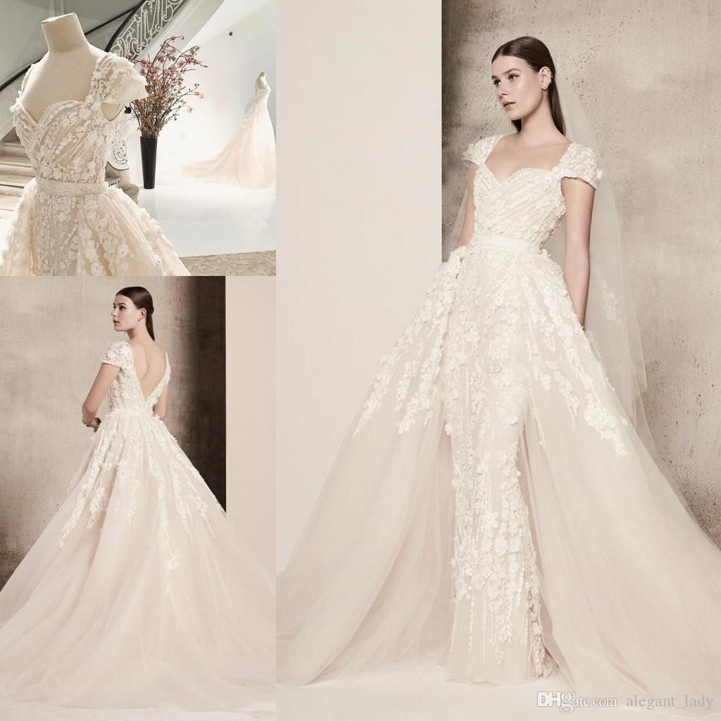 Detachable Cathedral Train Wedding Gown: Elie Saab 3D Floral Applique Overskirt Princess Cathedral