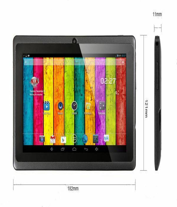 7inch 7 Inch A33 Quad Core Q88 Tablet Allwinner Android 4 4 KitKat Capacitive 1 5GHz DDR3 512MB RAM 4GB ROM Dual Camera Flashlight A23 MQ100