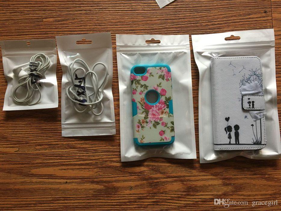 Reißverschluss-weiße Plastikeinzelverkaufs-Paket-Tasche Polyverpacken für Handy-Fall für Rand-Anmerkung 5 S6 Iphone 7 6 6S Samsungs-Galaxie-S7