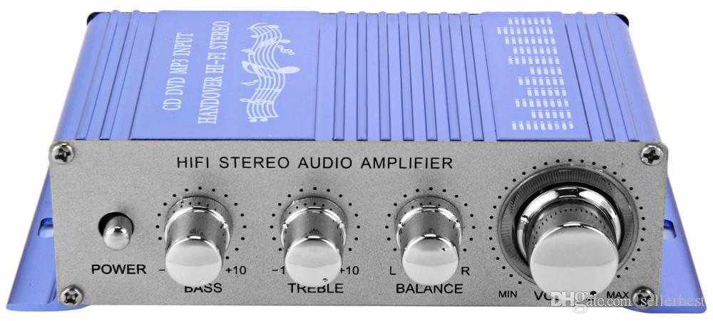 HY2002 HY-2002 Entrada de CD DVD MP3 para Motocicleta Reproductor de Audio de Color Azul Hi-Fi 12 V Mini Auto Estéreo Auto Amplificador de Potencia 2 Canales de Audio