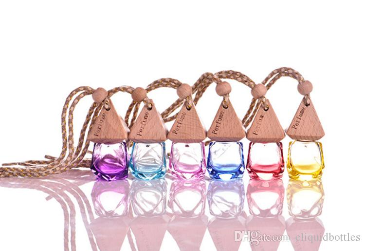 Free DHL Shipping Colorful Perfume Pendant Bottles Car Diffuser Perfume Bottle Mini Glass Empty Sample Containers