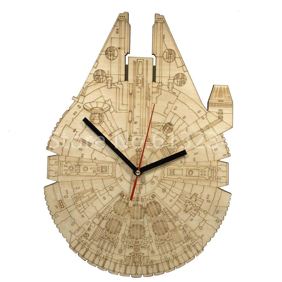 Star Wars Millennium Falcon Wall Clock Chic Starship Laser Engraved ...