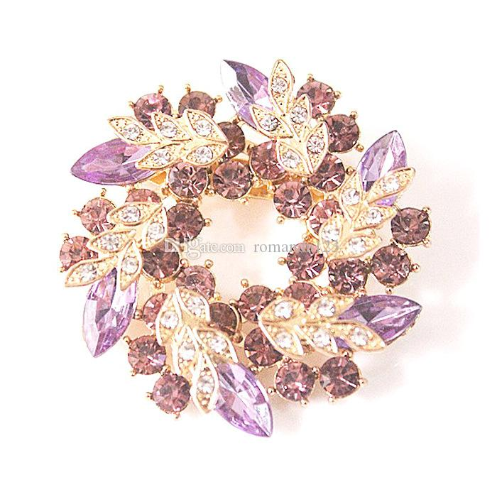 Bling Bling Crystal Rhinestone Gold Plated Chinese Redbud Flower Brooch Pins Jewelry Women Brooches for Scarf DHL