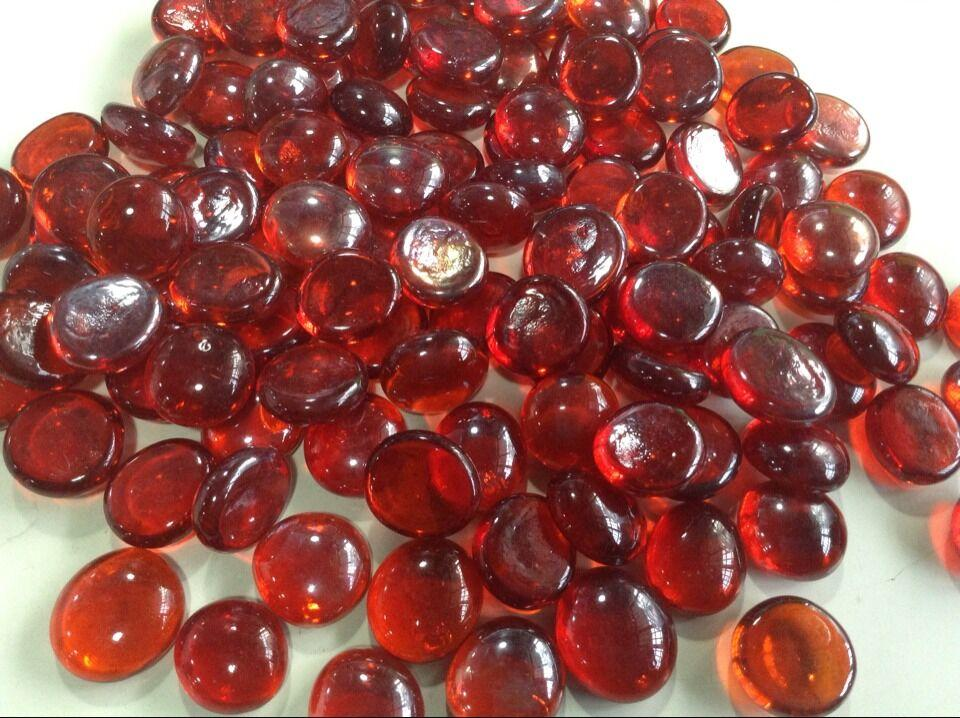 2018 Wine Red Glass Stone Burgundy Color Maroon Flat Beads Loose Fish Tank Vase Filler