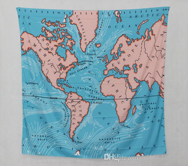 World Map Tapestry Wall Hanging world map blue wall hanging tapestry 148x200cm home decor mandala