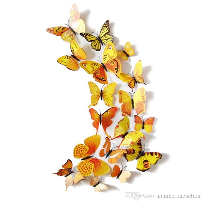 12 UNIDS 3D Imán de PVC Mariposas DIY Etiqueta de La Pared Decoración Para El Hogar Nueva Llegada Ventas Calientes Envío Gratis