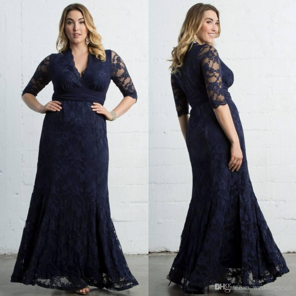Dark Navy Plus Size Lace Formal Dresses With Long Sleeves V Neck ...