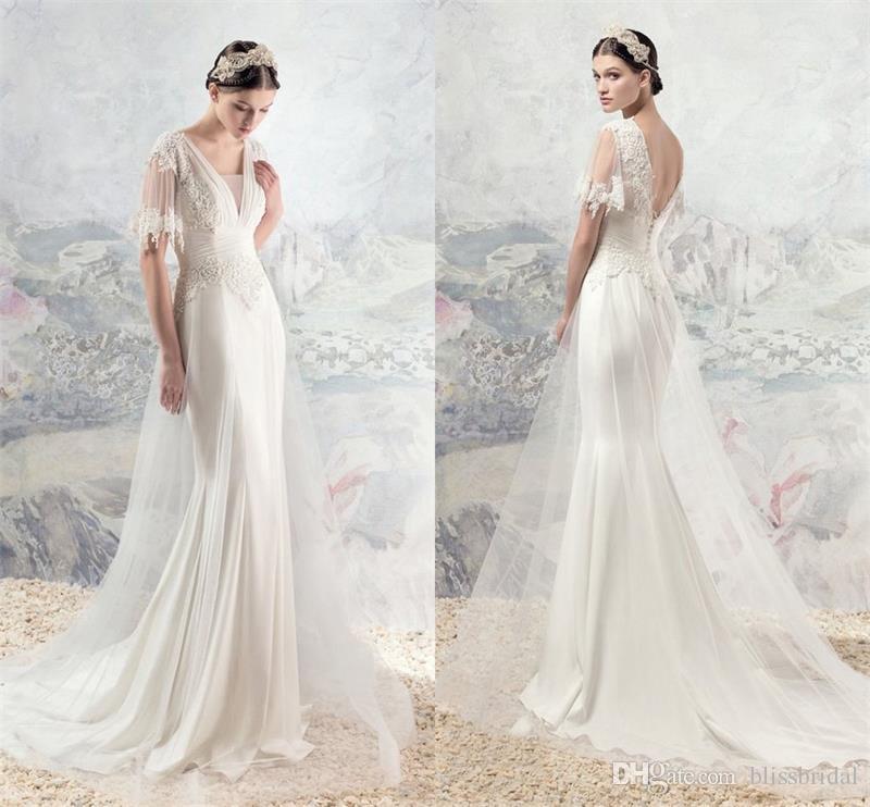 Tulle V Neck Beach Wedding Dresses Elegant 3D Floral Appliques
