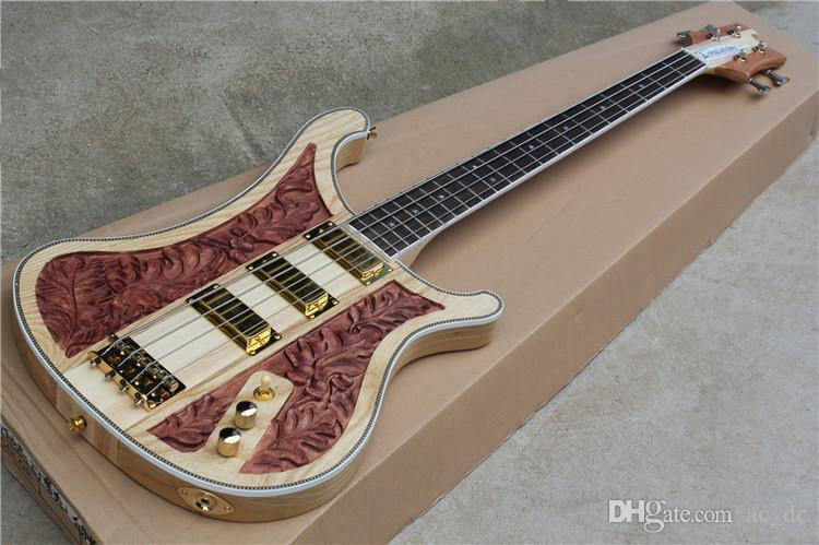 Natural Walnut Hand Carved Electric Bass Guitar Korea Gold Hardware 3 Pickups Ltd Guitars Finger Chart From Ac Dc 32403