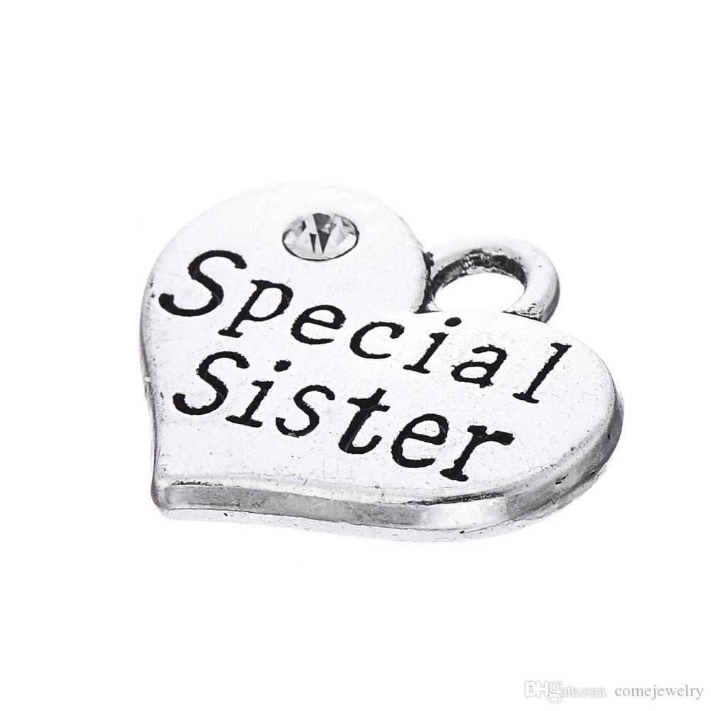 New Arrival DIY Fashion Jewelry Silver Plated Crystal Heart Shaped Special Sister Charms Pendant