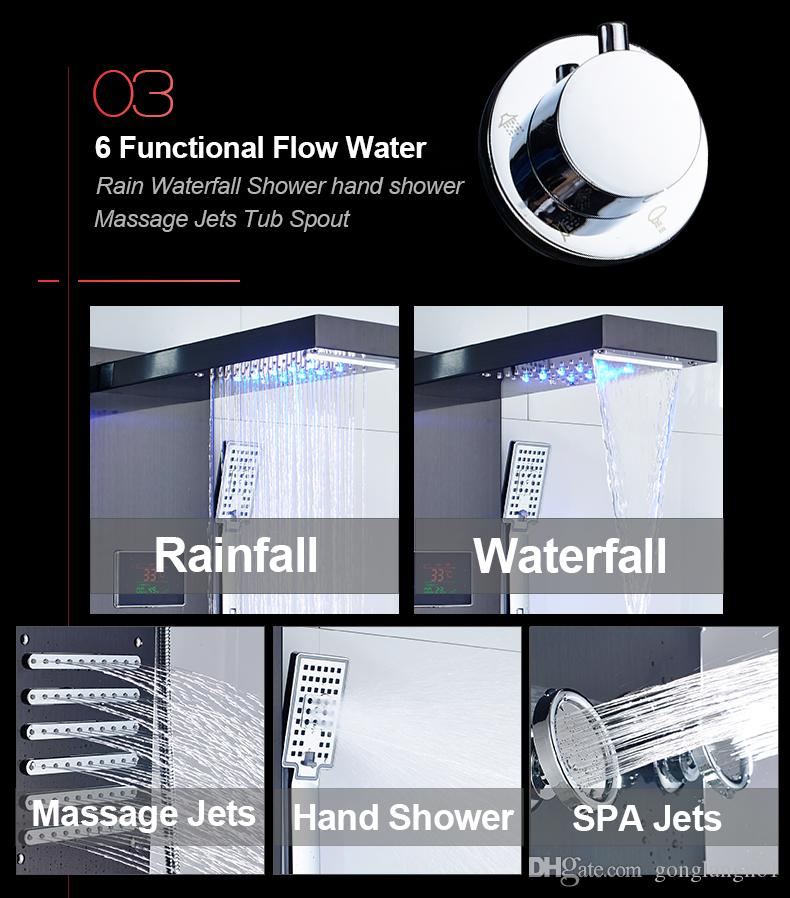 LED Shower Panel Rain Waterfall Shower Temperature Screen Handshower Massage SPA Jet Three Handles Mixer Tap Sink Faucet