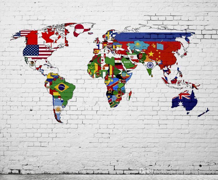 Großhandel 2 Arten Vintage World Map Wallpaper Benutzerdefinierte Vintage  Stereoskopische 3D Weltkarte Große Wandbild Tapete Für Restaurants KTV Bars  ...